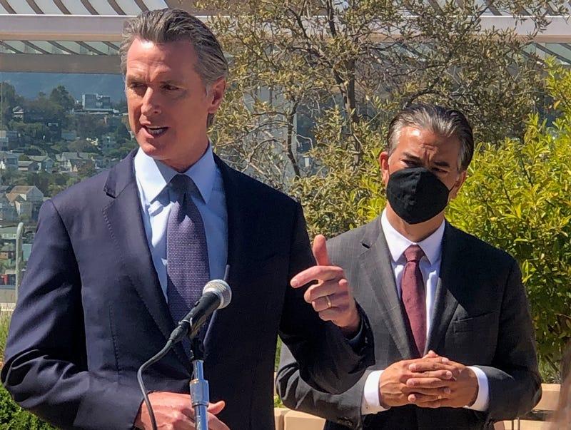 California Gov. Gavin Newsom (L) and Attorney General Rob Bonta (R) at a press conference on June 10, 2021 in San Francisco, California.