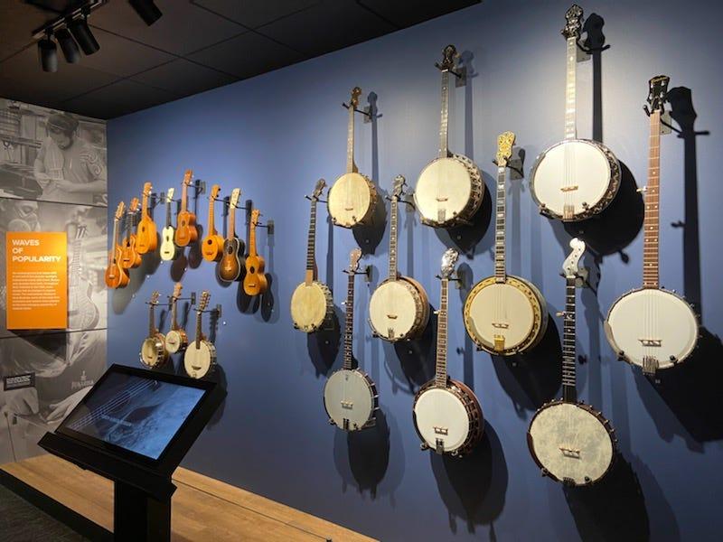 Banjos on display at NAMM's Museum of Making Music