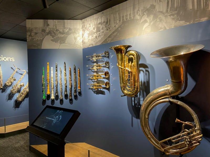Horns on display inside NAMM's Museum of Making Music