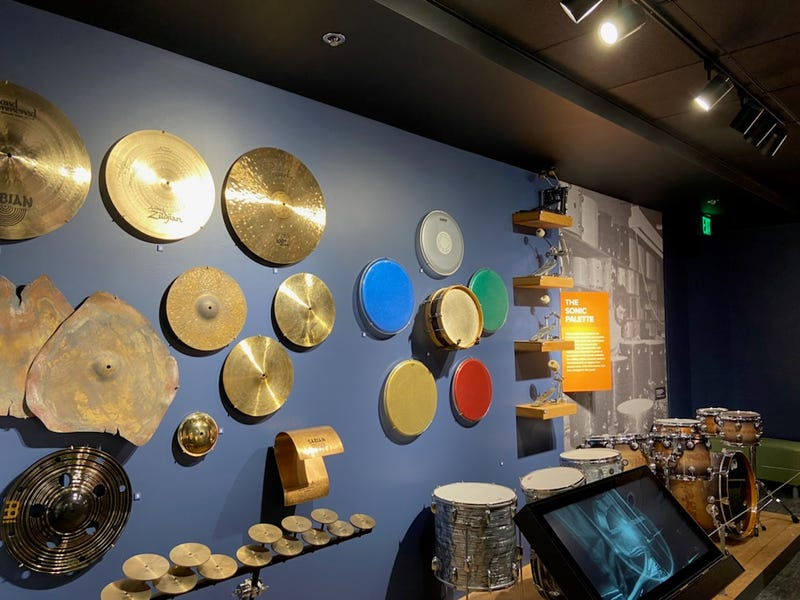 Drum heads on display inside NAMM's Museum of Making Music
