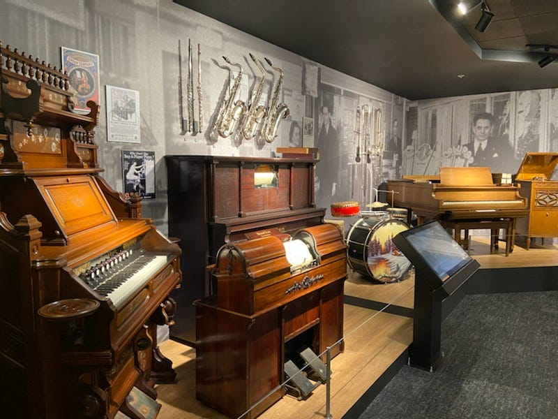 Pianos on display inside NAMM's Museum of Making Music