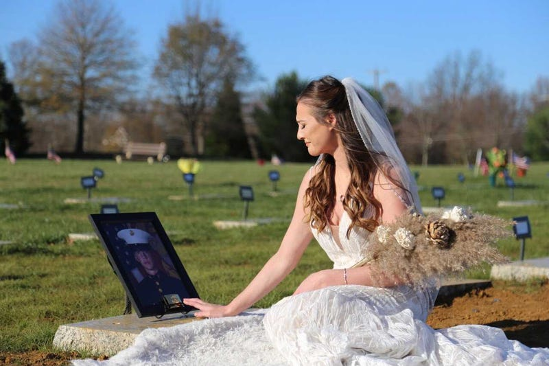 Chelsea Todd wore her wedding dress to visit the grave of fiancé, Marine veteran Patrick Duva, for the first time. Duva died just weeks before the couple's wedding day of a rare cancer his family believes was caused by toxic exposure during military service.