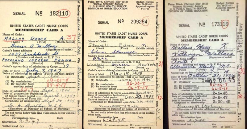 Cadet Nurse Corps membership cards for Grace Ann Malloy Carr, Edna Stowell, Mary Catherine Wallace.