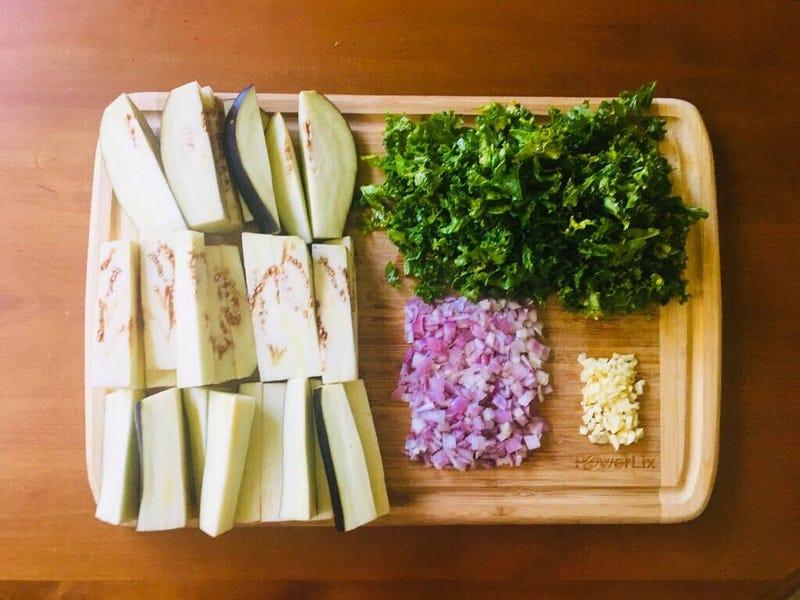 eggplant, kale, shallots, garlic