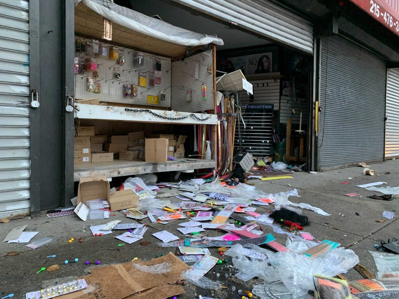 Stores on 52nd Street in West Philadelphia were vandalized and looted