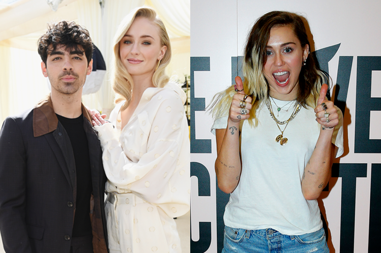 Joe Jonas and Sophie Turner & Miley Cyrus