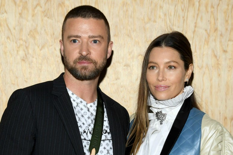 Justin Timberlake and Jessica Biel attend the Louis Vuitton Womenswear Spring/Summer 2020 show