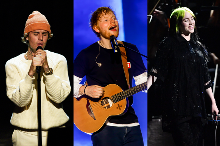 Justin Bieber and Ed Sheeran and Billie Eilish