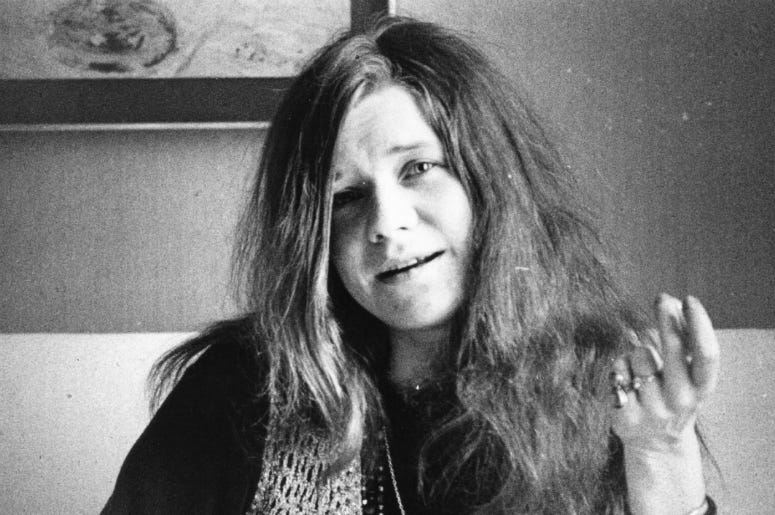 5th April 1969: American blues-rock singer Janis Joplin (1943 - 1970), of the group Big Brother and the Holding Company