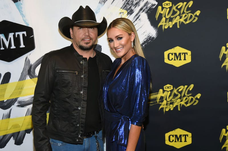 Jason Aldean and Brittany Kerr attend the 2018 CMT Music Awards at Bridgestone Arena on June 6, 2018 in Nashville, Tennessee