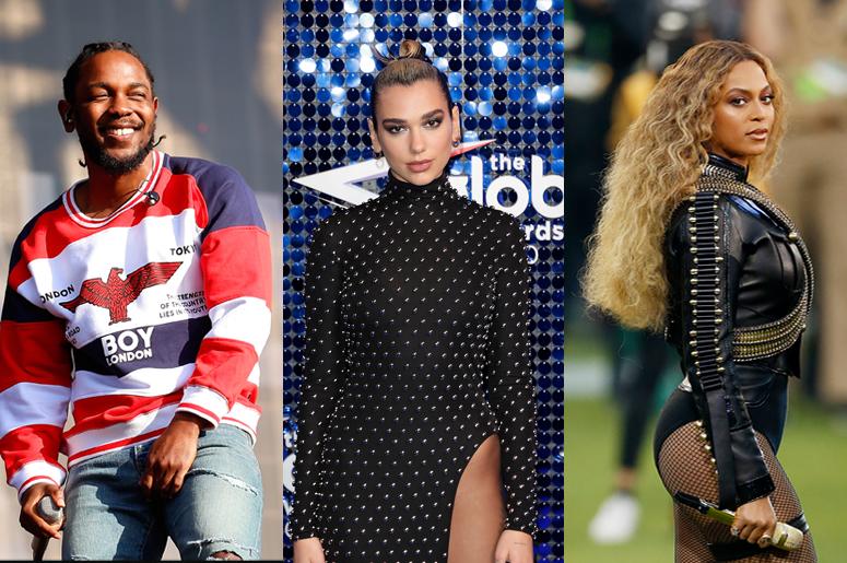Kendrick Lamar, Dua Lipa and Beyoncé