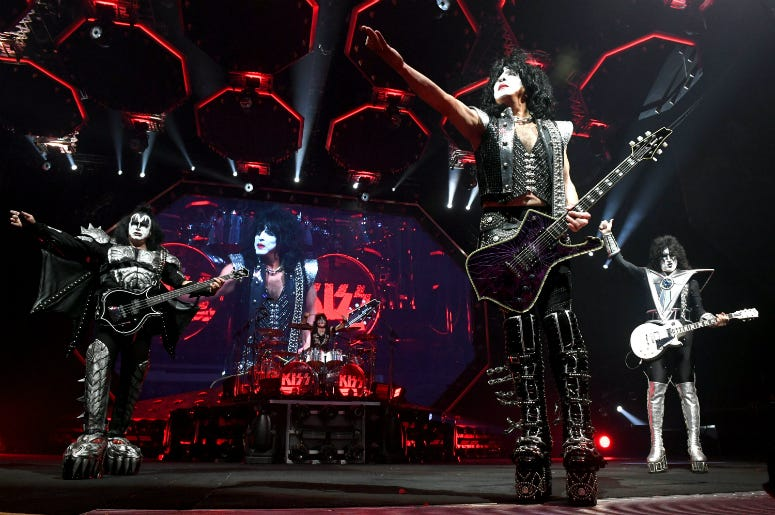 Gene Simmons, Paul Stanley and Tommy Thayer of KISS perform during their End Of The Road World Tour at The Forum
