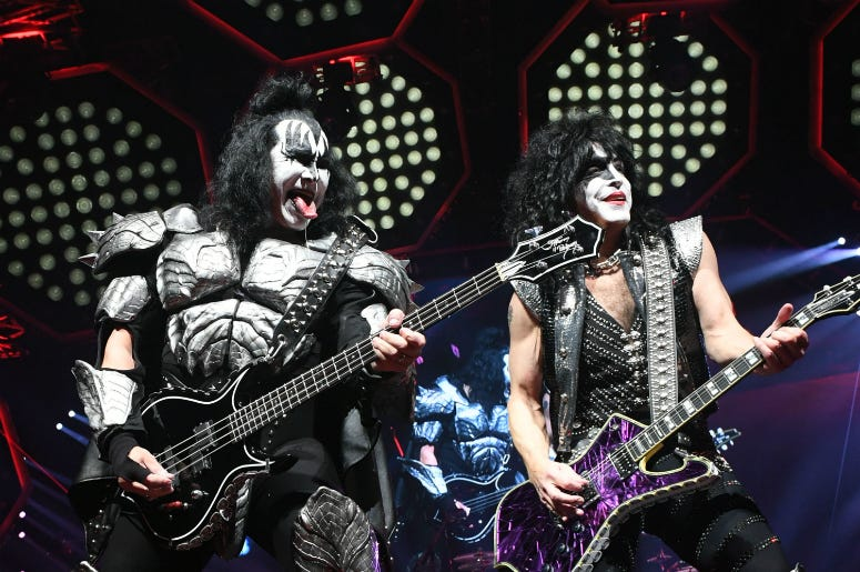 Gene Simmons and Paul Stanley of KISS perform during their End Of The Road World Tour at The Forum