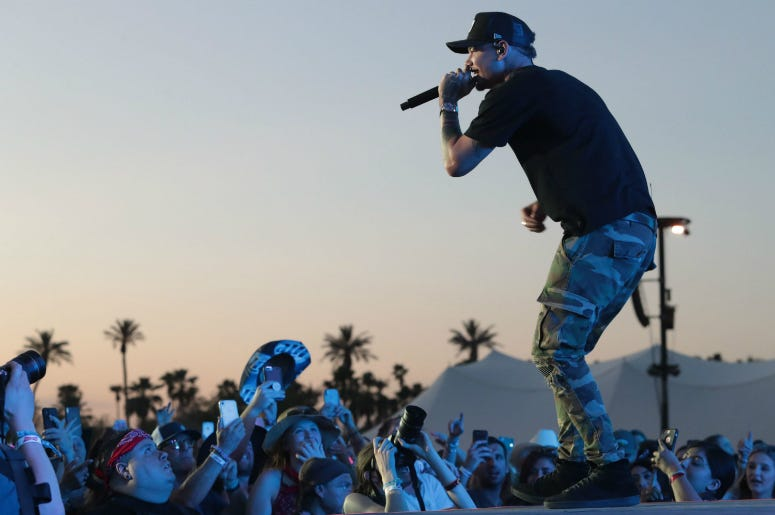 Kane Brown performs at the Stagecoach country music festival, Indio, Calif.