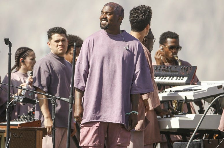 Kanye West performs Sunday Service during the 2019 Coachella Valley Music And Arts Festival on April 21, 2019