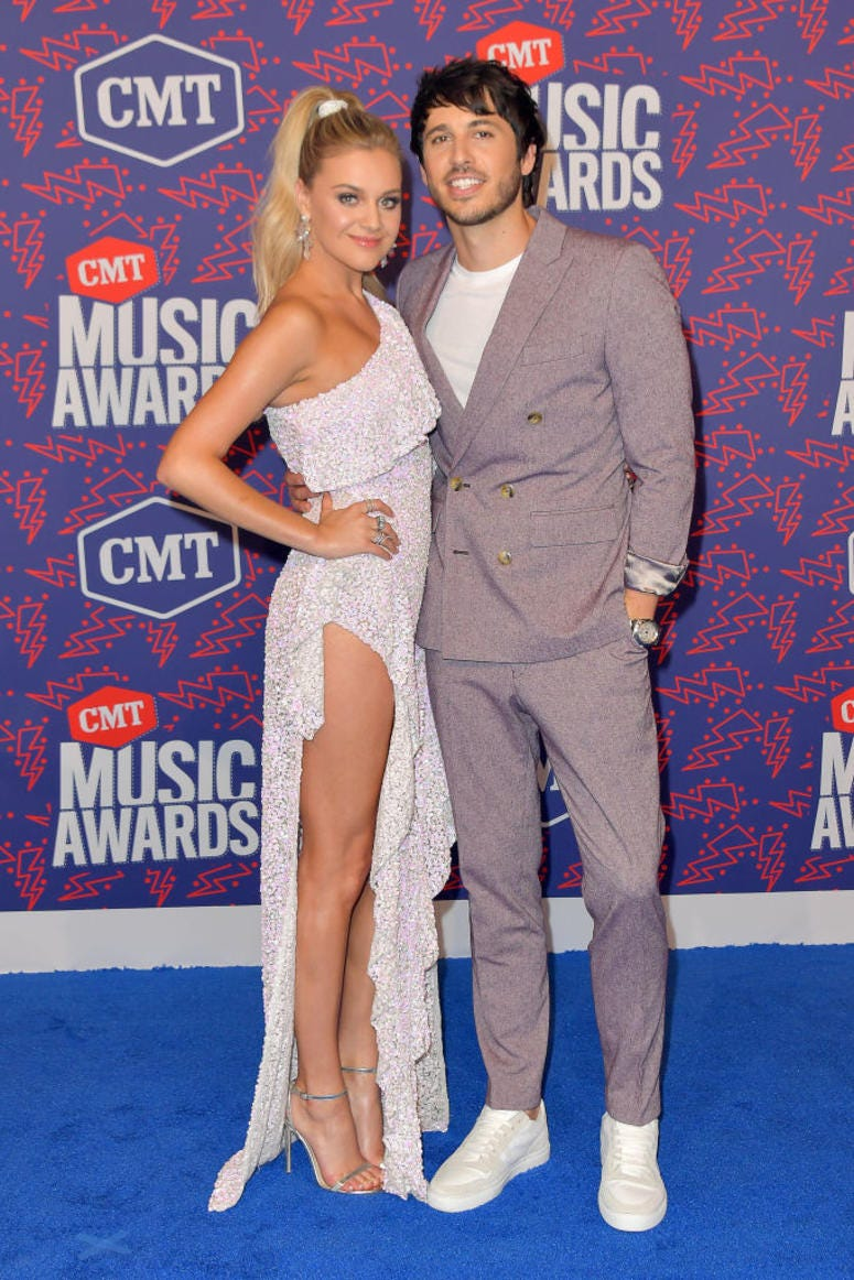 Kelsea Ballerini and Morgan Evans attend the 2019 CMT Music Awards at Bridgestone Arena on June 05, 2019 in Nashville, Tennessee