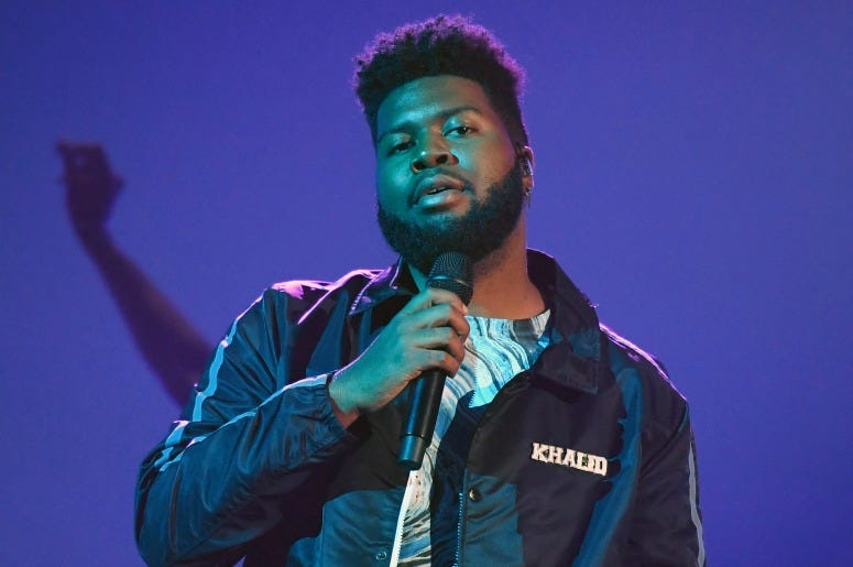Singer Khalid rehearses for the 2019 Billboard Music Awards at MGM Grand Garden Arena on April 29, 2019