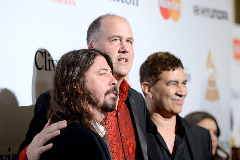 Recording artists Dave Grohl, Krist Novoselic, and Pat Smear attend the 2016 Pre-GRAMMY Gala and Salute to Industry Icons honoring Irving Azoff at The Beverly Hilton Hotel on February 14, 2016 in Beverly Hills, California