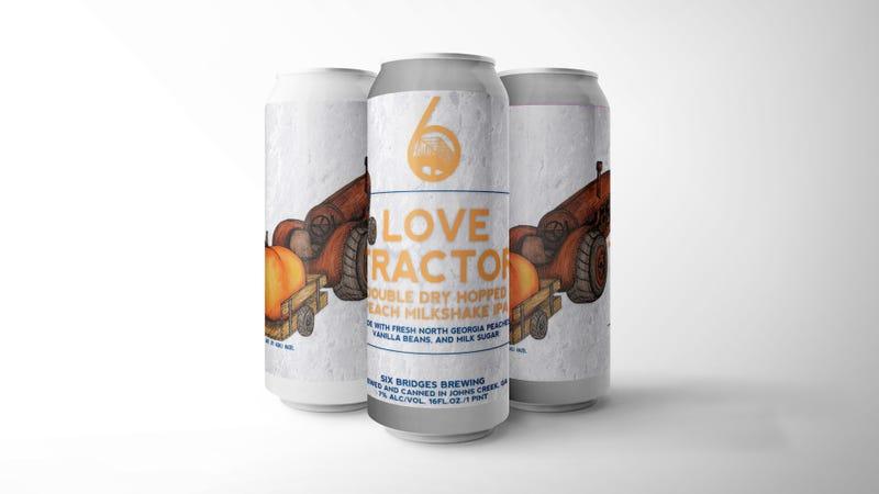 Love Tractor Peach Milkshake IPA, Six Bridges Brewing
