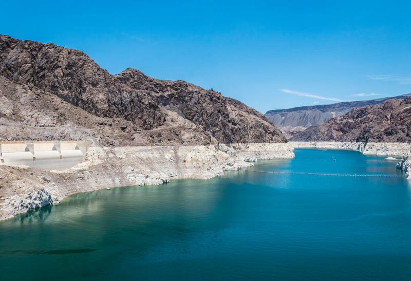 A view of Lake Mead, showcasing the lake's low water level