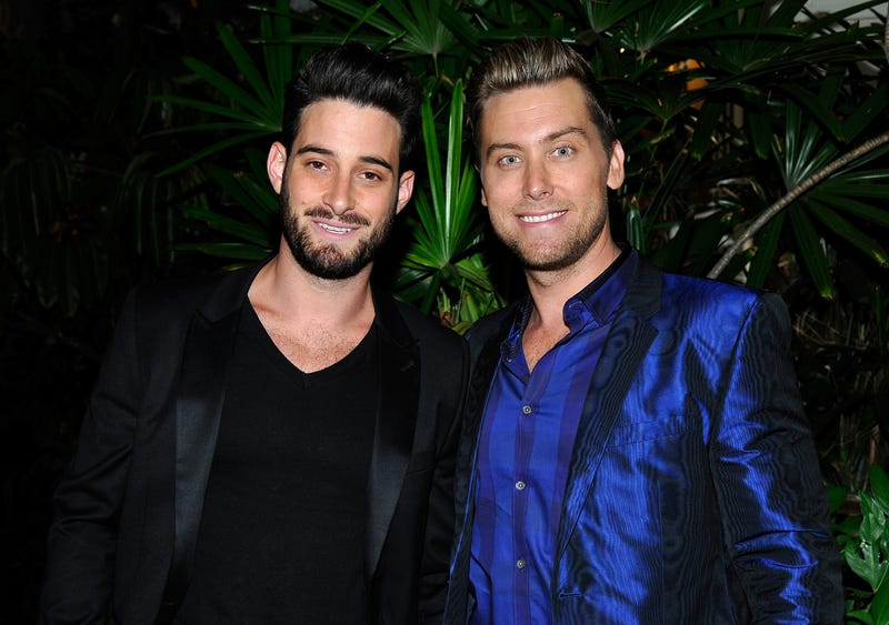 Artist Michael Turchin (L) and tv personality Lance Bass attend Opening Ceremony and Calvin Klein Jeans' celebration launch of the #mycalvins Denim Series with special guest Kendall Jenner at Chateau Marmont on April 23, 2015 in Los Angeles, California.