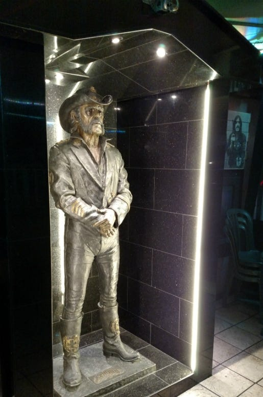 Lemmy statue at the Rainbow