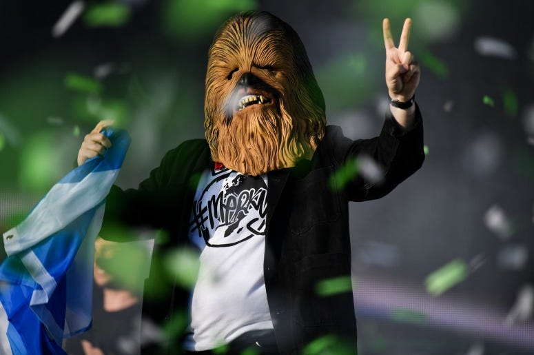 Lewis Capaldi comes on stage wearing a Chewbacca mask to perform on the main stage during the TRNSMT Festival at Glasgow Green