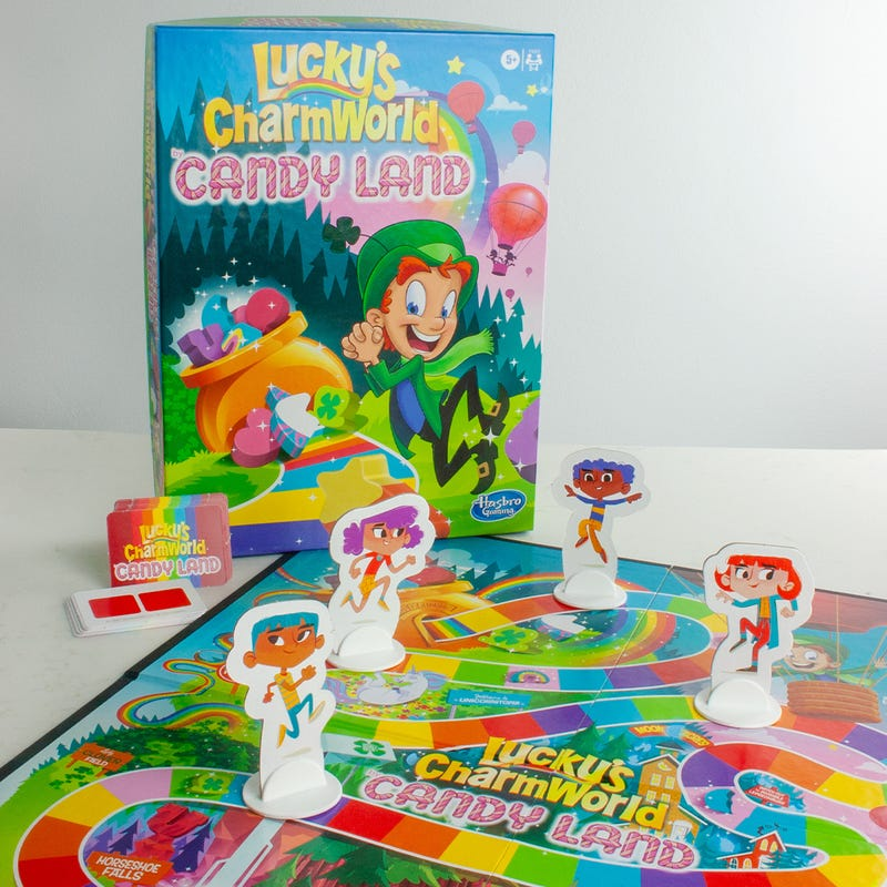 Lucky Charms Inspires New Family Traditions for St. Patrick's Day Limited-edition cereal that turns your milk green and new partnerships, including Lucky's CharmWorld by CANDY LAND game, offer a magical way to celebrate the holiday  Lucky Charms brings new magic to families this St. Patrick's Day including the new Lucky's CharmWorld CANDY LAND game (Photo: Business Wire). Lucky Charms brings new magic to families this St. Patrick's Day including the new Lucky's CharmWorld CANDY LAND game (Photo: Business Wire).