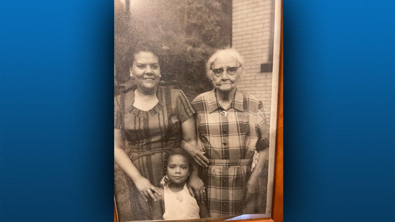 Five year old Lynne, with my great Aunt, and my great grandmother.  My aunt was mixed race, my great grandmother was White.