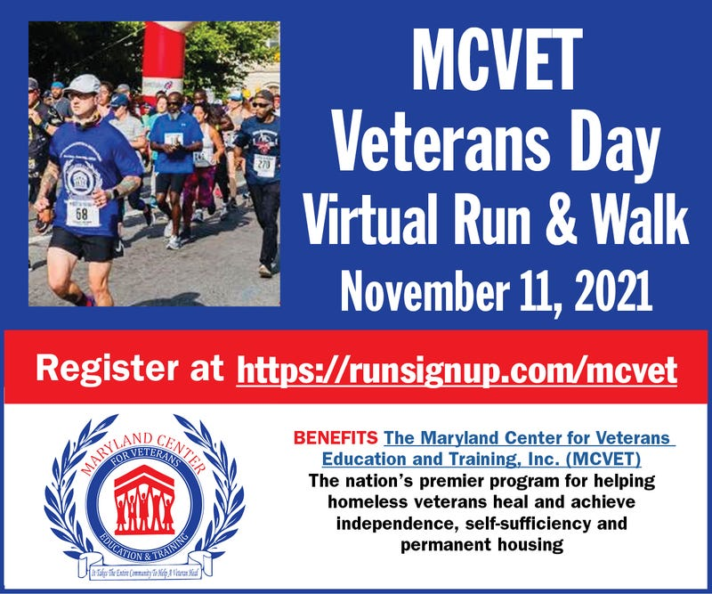 The MCVET Veterans Day Virtual Run and Walk November 11, 2021