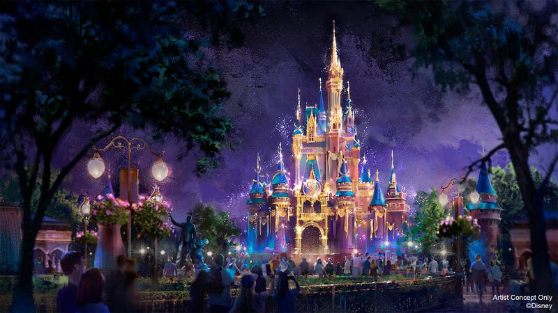 Artist concept of Cinderella Castle at Magic Kingdom during WDW's 50th anniversary celebration