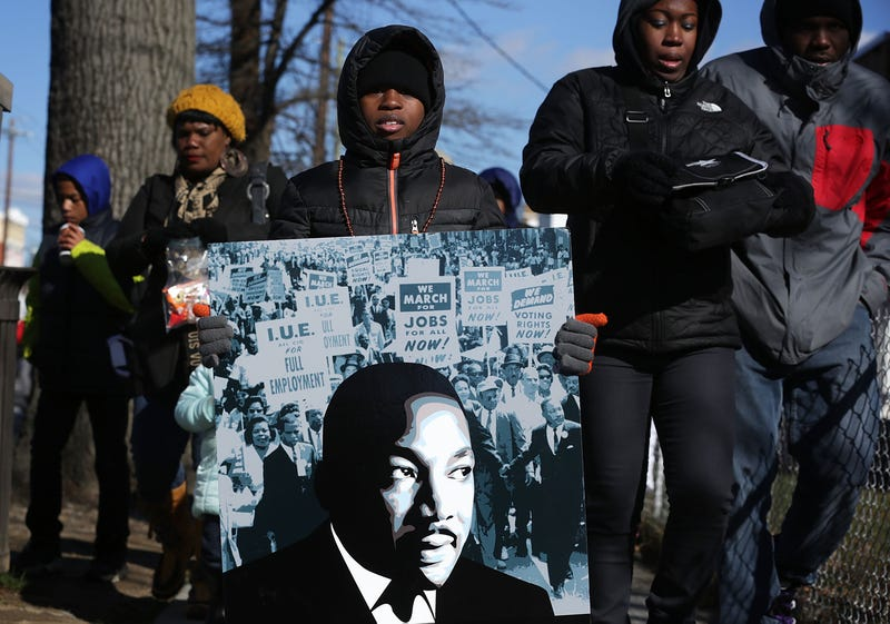A boy walks in D.C.'s annual Martin Luther King Holiday Peace Walk and Parade