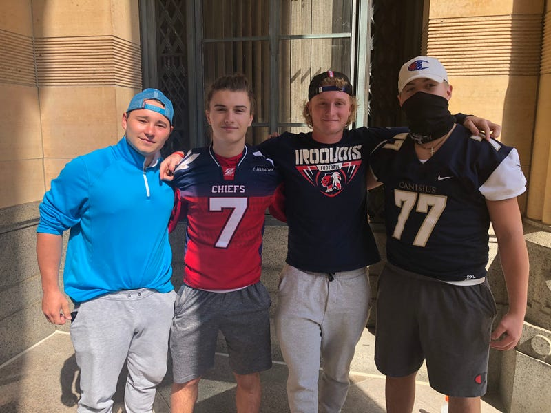 Iroquois football players gather outside Buffalo City Hall and push for state to allow high-impact sports like football to begin in the fall. September 19, 2020