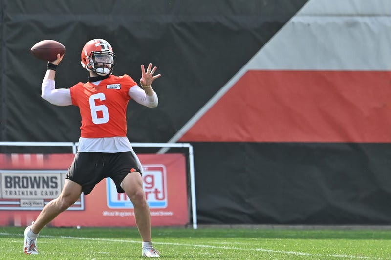 Aug 14, 2020; Berea, Ohio, USA; Cleveland Browns quarterback Baker Mayfield (6) throws a pass after practice at the Cleveland Browns training facility.