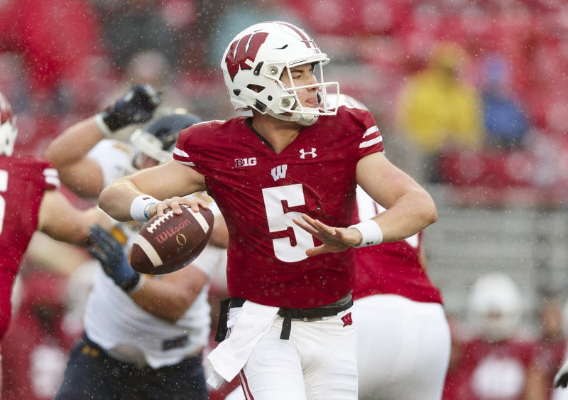 Oct 5, 2019; Madison, WI, USA; Wisconsin Badgers quarterback Graham Mertz (5) looks to throw during the fourth quarter against the Kent State Golden Flashes at Camp Randall Stadium. Mandatory Credit: Jeff Hanisch-USA TODAY Sports