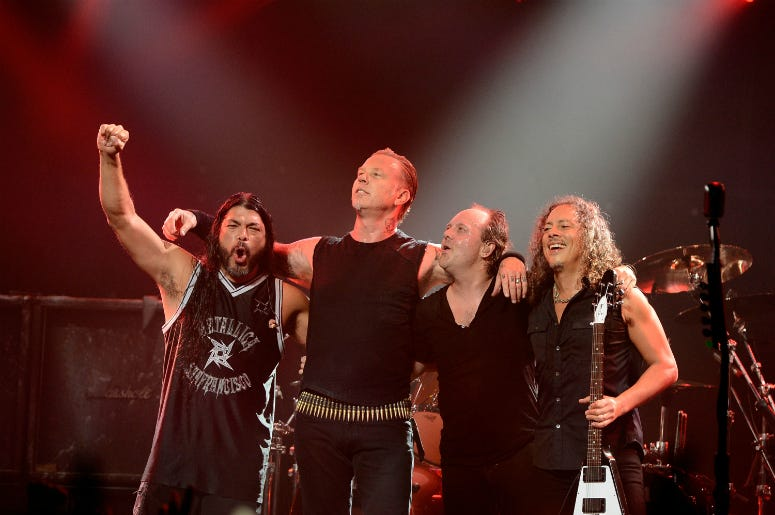 Robert Trujillo, James Hetfield, Lars Ulrich, Kirk Hammett perform at the 5th Annual Revolver Golden Gods Award Show