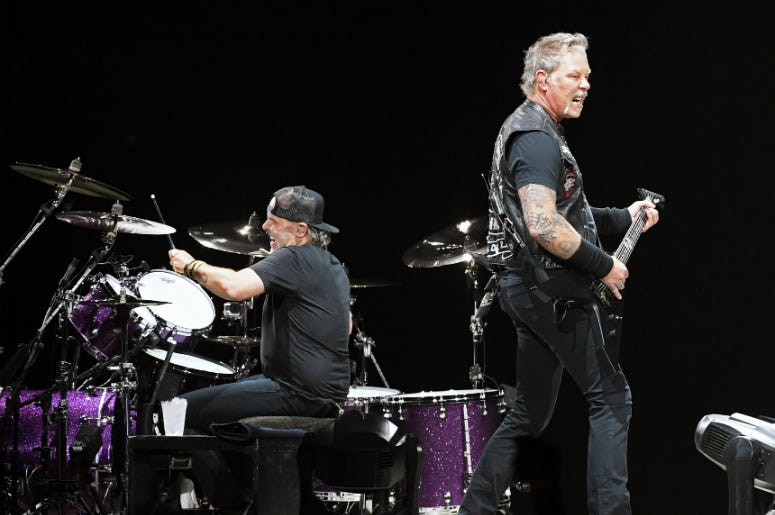 Lars Ulrich and James Hetfield of Metallica perform during the band's WorldWired Tour