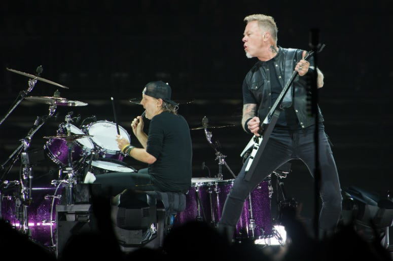 James Hetfield and Lars Ulrich of Metallica performing live on stage at Genting Arena in Birmingham, UK.