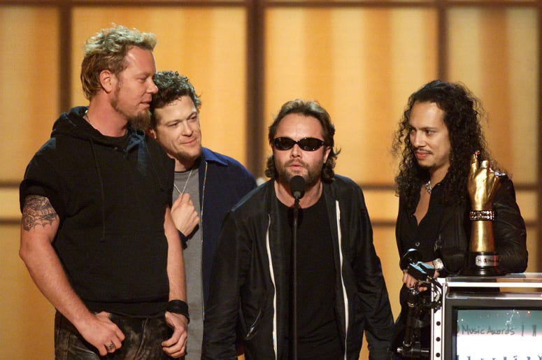 Metallica with one of their two awards on the My VH1 Music Awards at the Shrine Auditorium in Los Angeles, Ca., Thursday, November 30, 2000