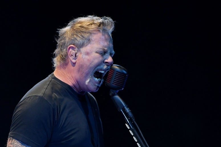 James Hetfield of Metallica performs during a stop of the band's WorldWired Tour