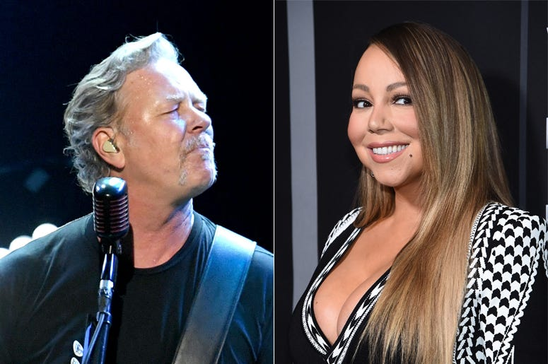 James Hetfield of Metallica and Mariah Carey