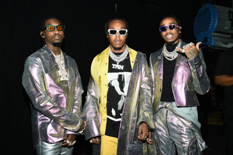 Migos pose backstage for Savage X Fenty Show Presented By Amazon Prime Video