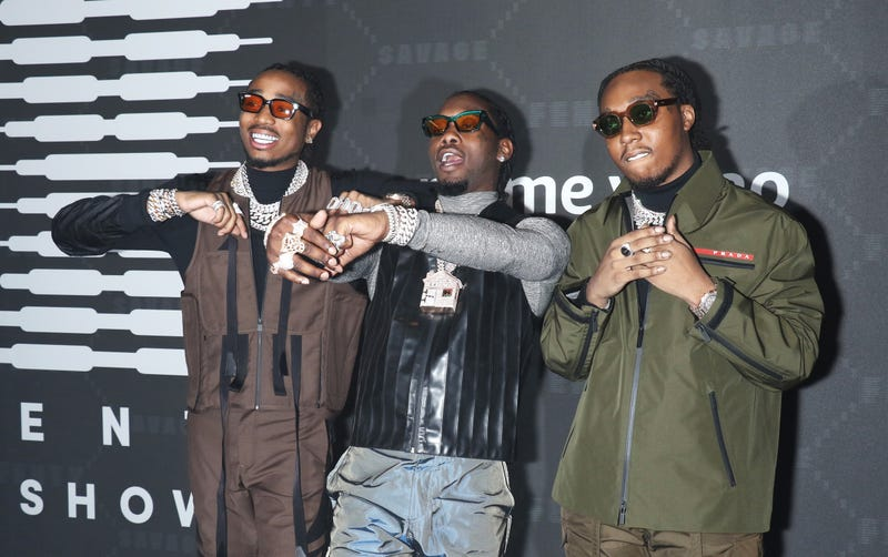 Rappers Takeoff, Offset and Quavo attend the Savage x Fenty arrivals during New York Fashion Week