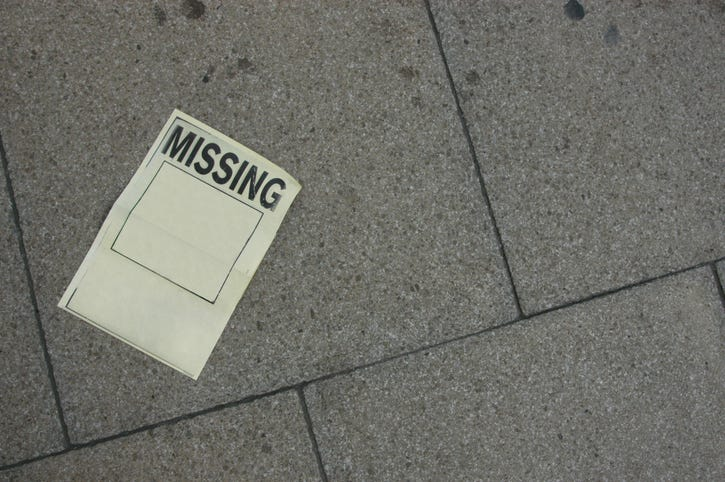 Missing poster on the ground