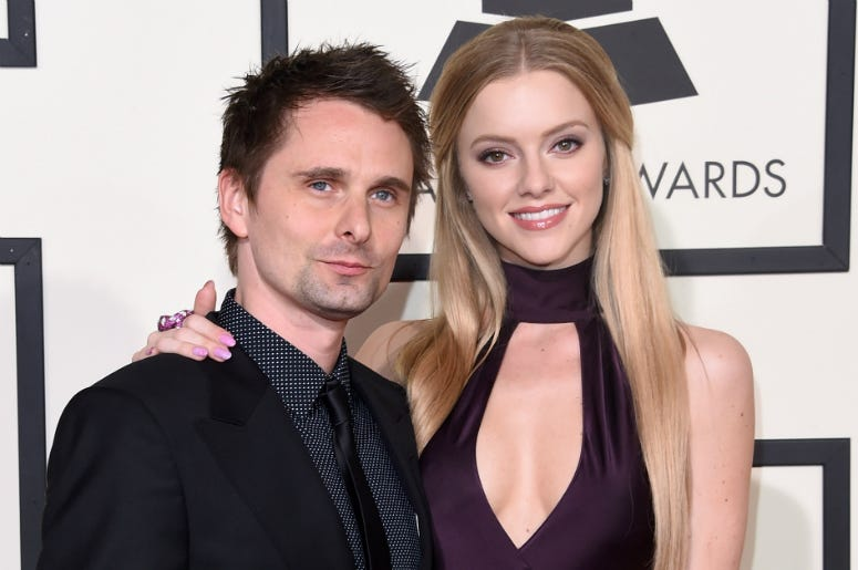 Matthew Bellamy of Muse and model Elle Evans attend The 58th GRAMMY Awards