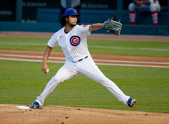 Yu Darvish delivers a pitch for the Cubs.