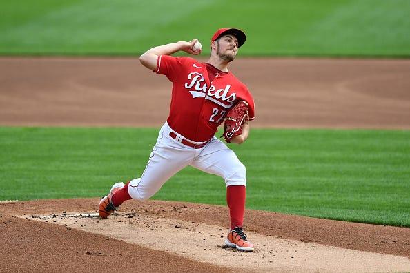 Trevor Bauer pumps gas for the Cincinnati Reds