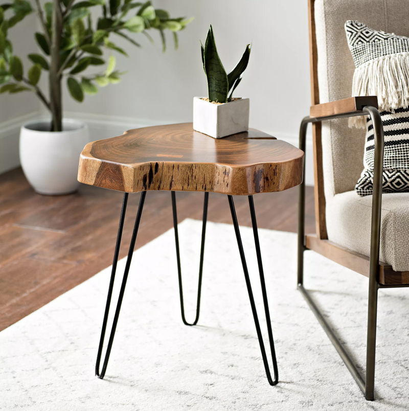 Natural Acacia Wood Side Table