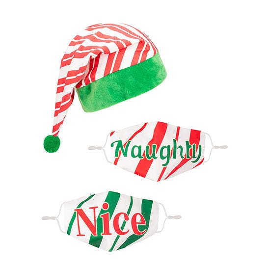 Naughty and Nice Hat and Face Mask Set
