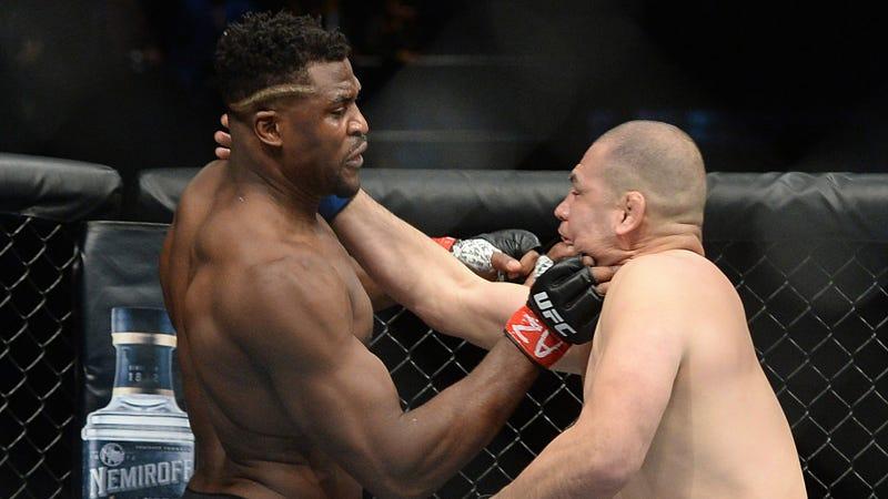 Francis Ngannou punches Cain Velasquez at UFC Fight Night.